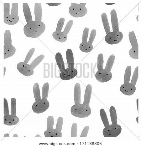 Cute seamless pattern with watercolor rabbits. Modern trendy hipster background. Watercolor rabbit on white background.