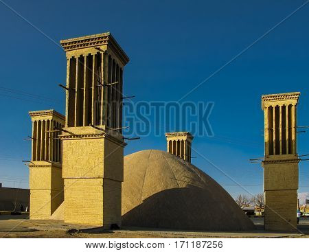 Water tank with Cooling wind tower Yazd Iran