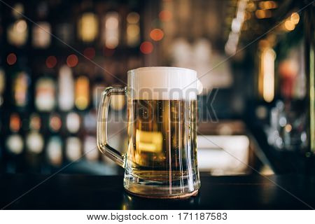 One glass of beers on a pub