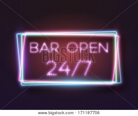 Illustration of Realistic Vector Neon Sign. 24 7 Retro Neon Frame. Open 24 Hours Glowing Neon Sign
