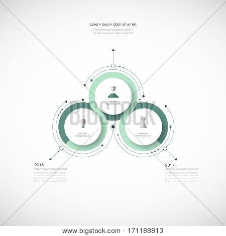 Vector infographics 3D paper circle diagram template. Blank space for data content, business, infographic, digital network, flowchart, process, diagram, chart. Business concept with options or steps processes.