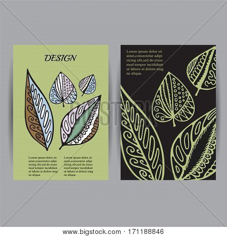 Stock vectorset of cartoon hand draw corporate identity vertical banner with isolated leaves. background. template for card