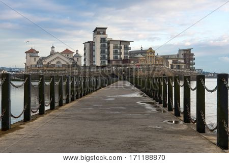 Knightstone Island, Weston-super-Mare, Somerset, UK. Award winning development on island on English coast showing causeway separating sea and marine lake