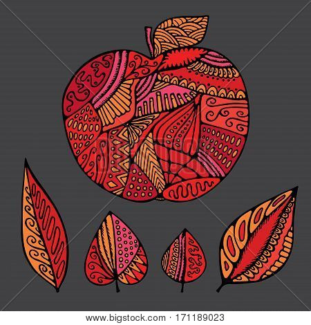stock vector abstract isolated apple and leaf. hand draw pattern