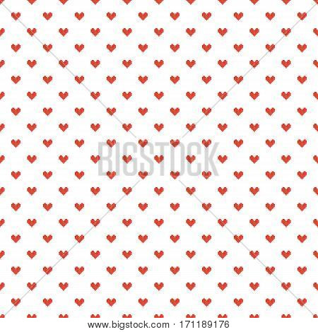 Geek valentine's day red pixel hearts seamless pattern background.