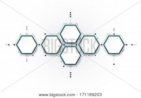 Vector molecule with 3D paper label, integrated Hexagon background. Blank space for content, business, infographic, diagram, digital network, flowchart, timeline, process. Social network connection technology concept