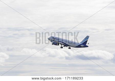 BANGKOK THAILAND - AUGUST 22 : indigo airline plane departure from savarnabhumi airport on august 22 2015 in bangkok thailand