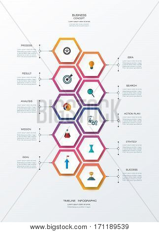 Vector infographics timeline design template with 3D paper label, integrated hexagon for 10 steps process. Blank space for content, business, infographic, infograph, flowchart, diagram, time line, workflow