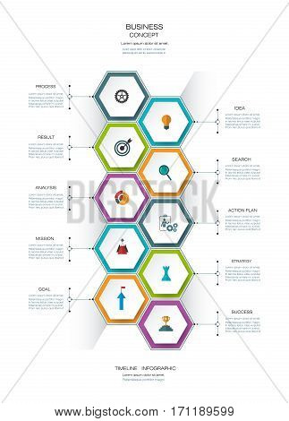 Vector infographics timeline design template with 3D paper lable, integrated hexagon for 10 steps and icon. Blank space for content, business, infographic, infograph, flowchart, process, diagram, time line, workflow