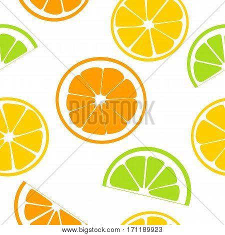 Citrus fruits juicy slices. seamless pattern vector. Lemon, grapefruit, lime, orange. Flat style. For fresh bar, cocktails, cafe restaurant label advertising template prints textile