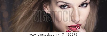 Elegant Woman With Red Lips