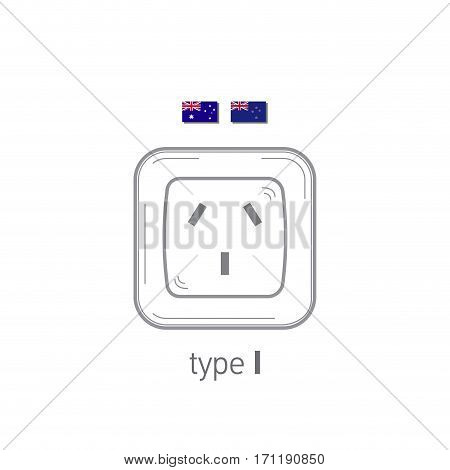 Sockets icon. Type I. AC power sockets realistic illustration. Different type power socket set, vector isolated icon illustration for different country plugs