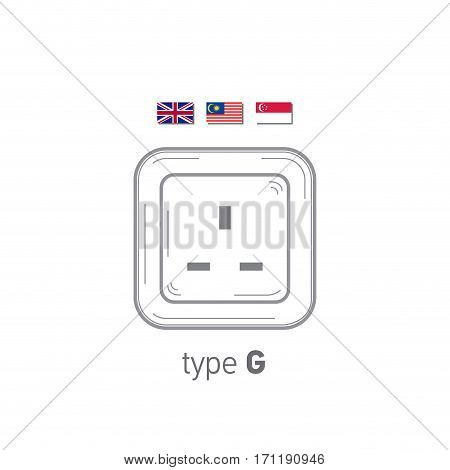 Sockets icon. Type G. AC power sockets realistic illustration. Different type power socket set, vector isolated icon illustration for different country plugs