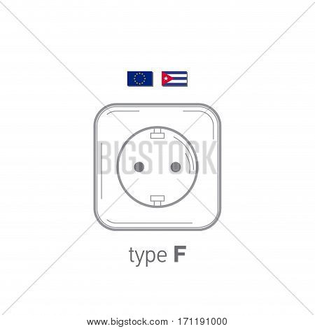 Sockets icon. Type F. AC power sockets realistic illustration. Different type power socket set, vector isolated icon illustration for different country plugs