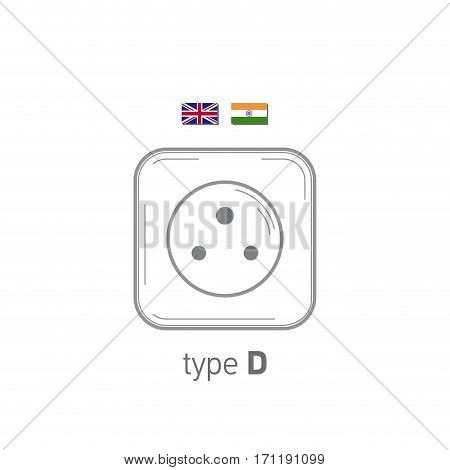 Sockets icon. Type D. AC power sockets realistic illustration. Different type power socket set, vector isolated icon illustration for different country plugs