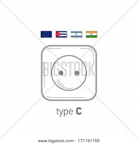 Sockets icon. Type C. AC power sockets realistic illustration. Different type power socket set, vector isolated icon illustration for different country plugs