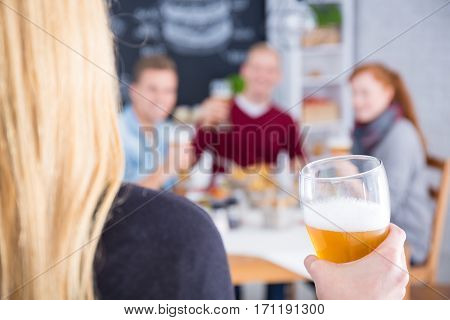 Woman With Beer In Hand