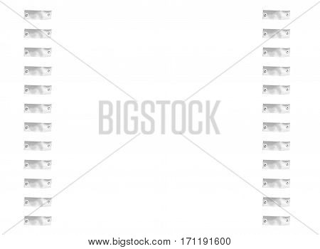 abstract frame with rivets on white background and space for text.