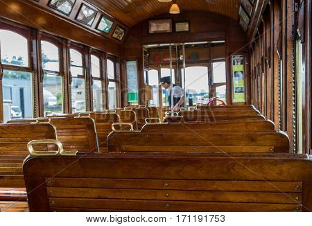 Wood Seats in Old Train Car in Astoria Oregon