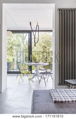 Coffee Table In Bright Veranda Room