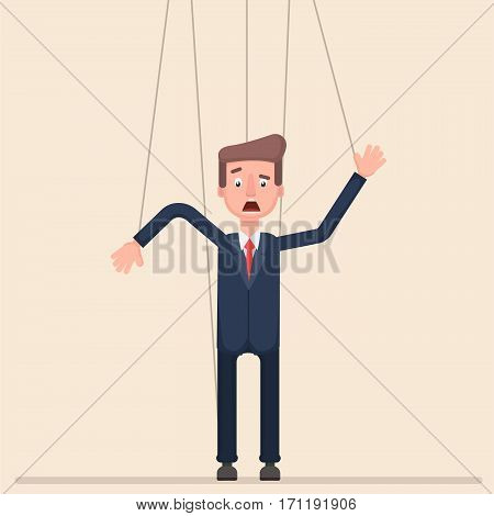 cartoon. businessman puppet Flat Vector EPS 10