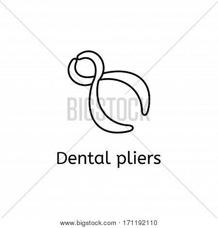 Dental pliers vector thin icon isolated on white background. Element for infographic, website or app.