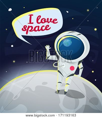 I love space vector illustration, astronaut on the Moon concept design