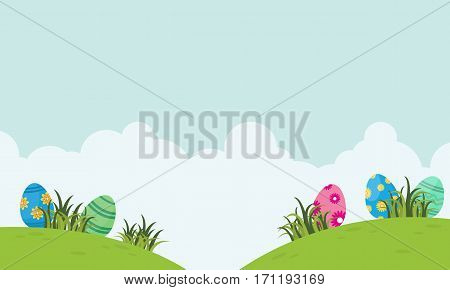 Landscape of easter egg and cloud vector collection stock