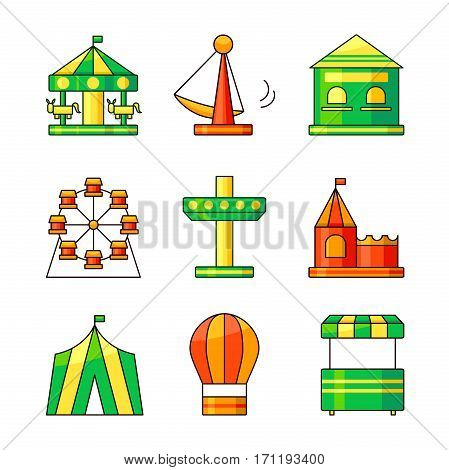 Amusement park outline icons, vector illustration in outline style