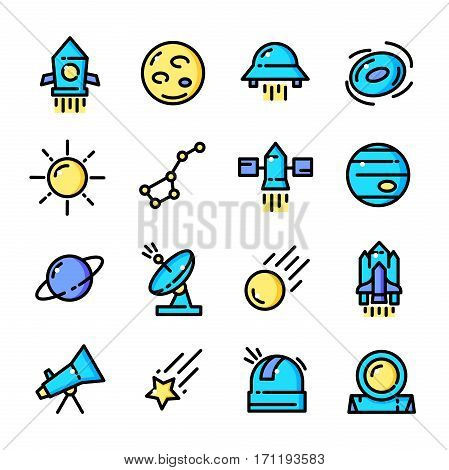Thin line Space icons set, Astronomical outline logos vector illustration
