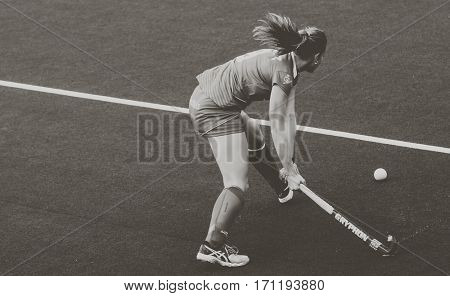 VALENCIA, SPAIN - FEBRUARY 12: Maria Lopez during Hockey World League Round 2 Final match between Spain and Poland at Betero Stadium on February 12, 2017 in Valencia, Spain