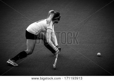 VALENCIA, SPAIN - FEBRUARY 12: Martyna Wypijewska during Hockey World League Round 2 Final match between Spain and Poland at Betero Stadium on February 12, 2017 in Valencia, Spain