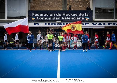 VALENCIA, SPAIN - FEBRUARY 12: All players during Hockey World League Round 2 Final match between Spain and Poland at Betero Stadium on February 12, 2017 in Valencia, Spain
