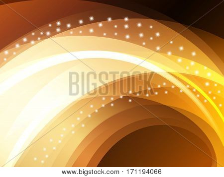 Beautiful gold vector light effect of neon glow and flash. Abstraction backgroun with flying design elements.