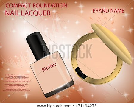 Glamorous compact foundation and nail lacquer on the sparkling effects background. Mockup 3D Realistic Vector illustration for design template