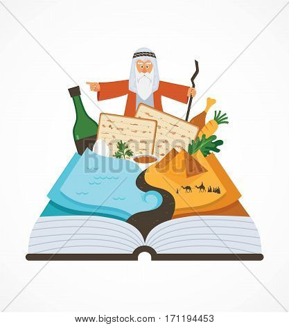 abstract passover story haggadah book over traditional food and Mozes . vector illustration