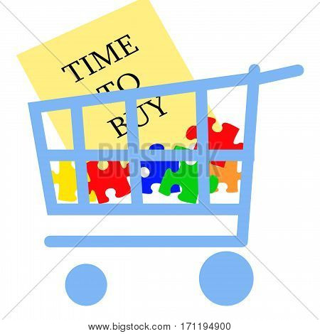 blue grocery cart with colorful puzzle pieces illustration