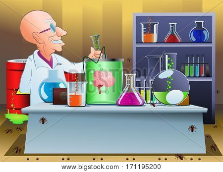 illustration of a cartoon crazy scientist on laboratory doing chemistry experiment