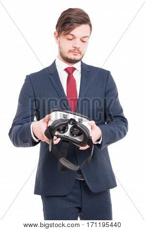 Handsome Man Holding A Virtual Reality Headset
