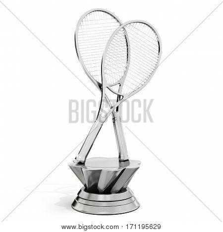 Silver Trophy With Tennis Rackets