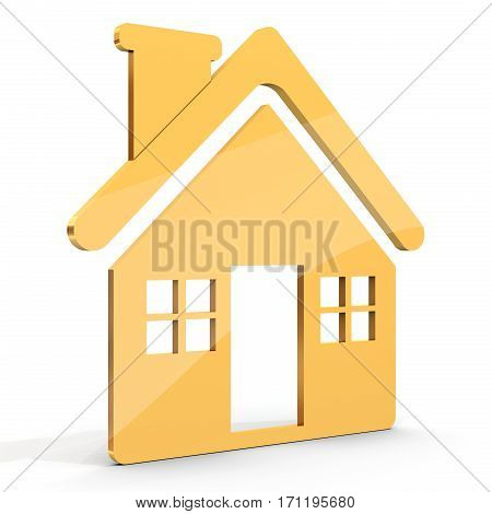 Golden House Shape Icon