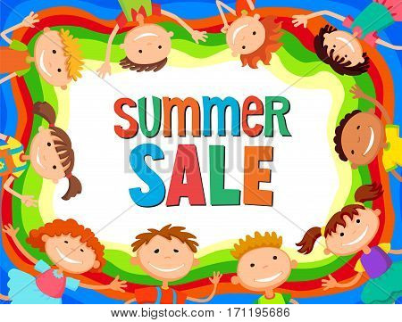 children are jumping on the glade, bunner cartoon funny vector, Ready for your message. blank template character. illustration summer sale