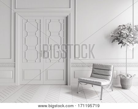 Classic White Interior With Chair And Plant