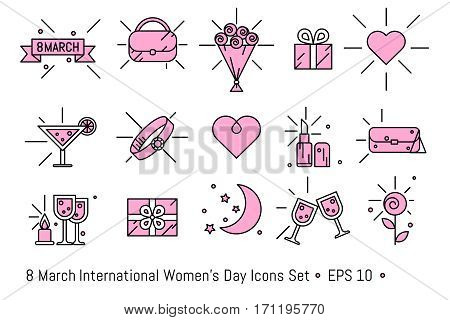 8 March, International Women's Day icons set in line art style. For design of greeting card, poster, party, invitations, web banners ad. In black and pink colors.