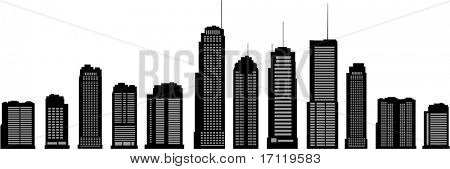 Different building silhouettes