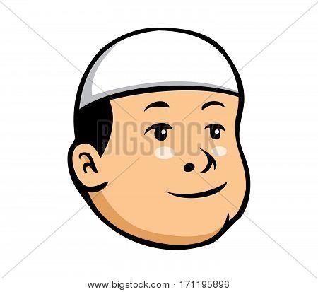 Vector cartoon illustration of moslem kid boy