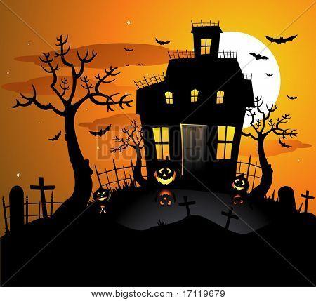 Fondo de halloween haunted house