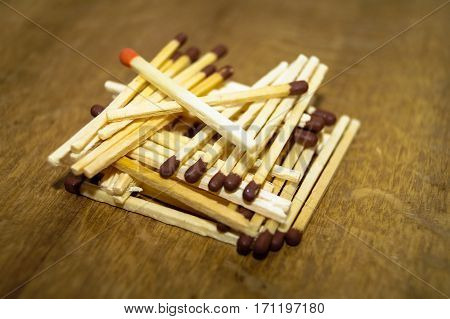 matches lined up in a pile on wooden background