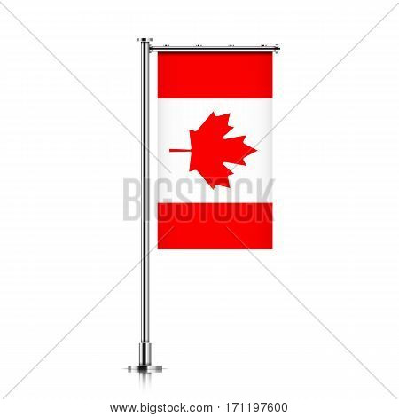 Canada vector banner flag hanging on a silver metallic pole. Canada vertical flag template isolated on a white background.