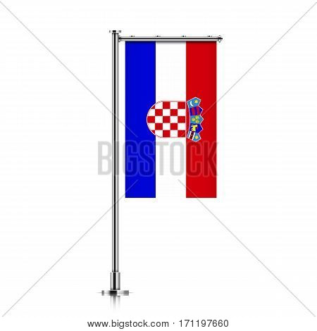 Croatia vector banner flag hanging on a silver metallic pole. Croatia vertical flag template isolated on a white background.